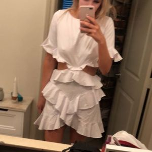 NWT Fame and Partners White Ruffle Dress Size 4/S
